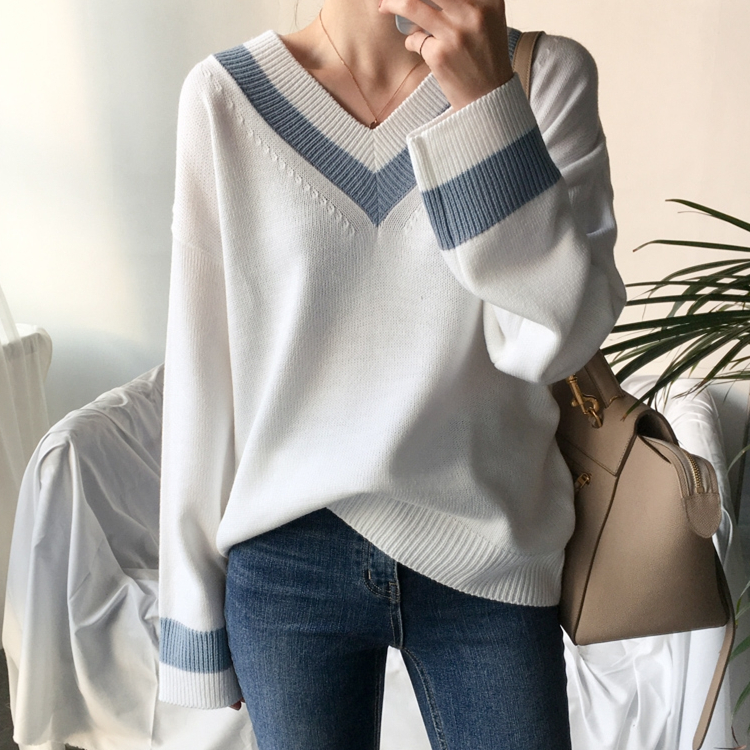 Colorfaith New 19 Autumn Winter Women's Sweaters Black White Pullover Korean Style Minimalist Casual Office Lady SW8853 2