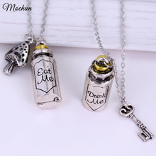 MQCHUN Alice in Wonderland Necklace Classic Fashion Pendant Eat Me Drank Me Christmas Gift Bottle Key Mushroom Accessories 2017