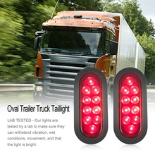 1 Pair Long-lasting Low Power Consumption 10 LED Waterproof Oval Stop/Turn/Tail Warning Light for Truck Trailer Boat New