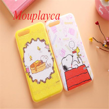 Mouplayca Soft Silk print TPU back cover cases for iphone 6 6s plus 7 plus phone cases Cute cartoon Snoopie Dog back cover cases