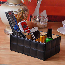 High Quality Leather Home Desk Organizer Storage Box Organizer TV Remote Controls Media Jewelry Holder White Black(China)