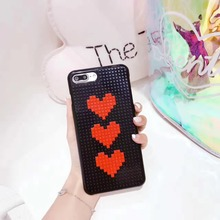 3D Newest DIY Legos Blocks Lovely Heart Phone Cases For Iphone 6 6S 6 Plus 7 7 Plus Cartoon Blocks Brick Plastic Back Cover(China)