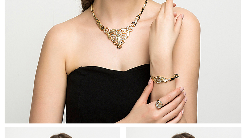 AYAYOO Indian Jewelry Sets Luxury Wedding Dubai Gold Color Jewellery Sets For Women Plant Vintage African Beads Jewelry Set (2)