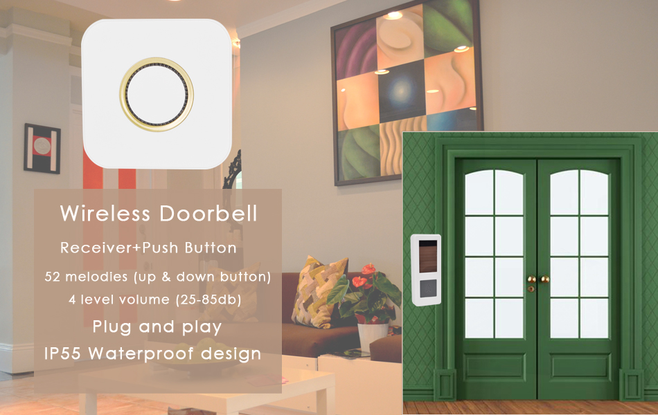 07CTVMAN Wireless Doorbell Solar Powered Push Wireless Doorbell