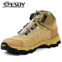 High Quality 2017 Outdoor ESDY Quick Boots Side part Sport Male Auto Lace Up military Cargo non-slip Tactical Hiking shoes Men