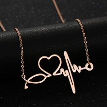 2017 New Medical Stethoscope Love Heart Chain Necklace Gold Bijoux Love You Collier Femme Necklaces Christmas Gifts(China)