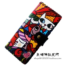 Printing Cartoon cat wallets women clutch wallet, fashion female purse PU leather lady purse Antique National wind change purse(China)