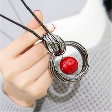 Ocean red white pearl ball pendant long necklace New circles simulated women black chain necklace fashion jewelry wholesale gift