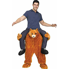 Teddy bear Animal Pants Ride on Me Mascot Cosplay Costumes For Adult Carry Back Party Suits Men Women Funny Riding Horse Toys(China)