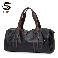 Fashion Male Travel bag Men's Leather Shoulder Bag Vintage Duffle Handbag Large Capacity Crossbody Bags Daily Life Tote Bag Y592(China)