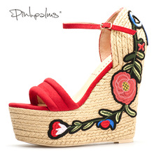 Pink Palms women summer Embroidered platform shoes espadrille shoes flower applique supper high heel wedge elegant sandals