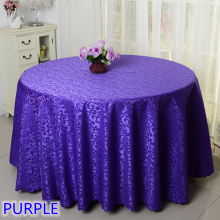 Purple colour jacquard table cloth damask pattern table cover for wedding hotel and round table linen decoration wholesale(China)