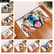 Free shipping 2017 Modern Style Lovely Painting Dog Print Carpets Anti-slip Floor Mat Outdoor Rugs Animal Front Door Mats