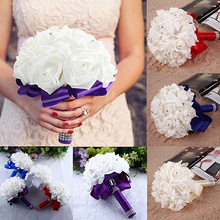 1 Bouquet Bride Wedding Party Bridesmaid Rhinestone Decor Foam Artificial Flower Store 48