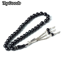 Buy TopGoods Natural Stone Rosary Black Agate Rosarys Islamic Muslim 33 Beads Tesbih Allah 8MM Religious Stone Prayer Bracelet for $6.74 in AliExpress store