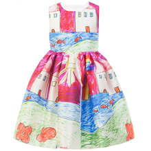 Girls Dress Winter 2015 Brand Baby Girls Clothes Kids Dresses Painting Sleeveless European Children Dress Princess Costume 2-10Y