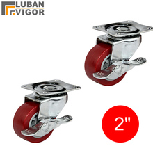 Red 2 inch furniture caster/wheel with brake,made of PU,mute,light duty caster,For Table, chair, wardrobe,Furniture hardware