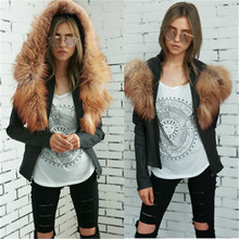 ladies faux leather jacket fashion lady faux fur hood pu jackets elegant stylish perforated short coat with faux fur collar(China)