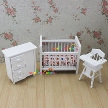 Bedroom Furniture Wooden Crib Bed Baby Chair Cabinet 1:12 Scale Dollhouse Miniatures 3pc set Kids Bjd Doll House(China)