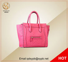 Butterfly Fish Casual Big Brand Ladies Smile Tote Bags Vintage Smile Face Handbag Ostrich Leather Bags