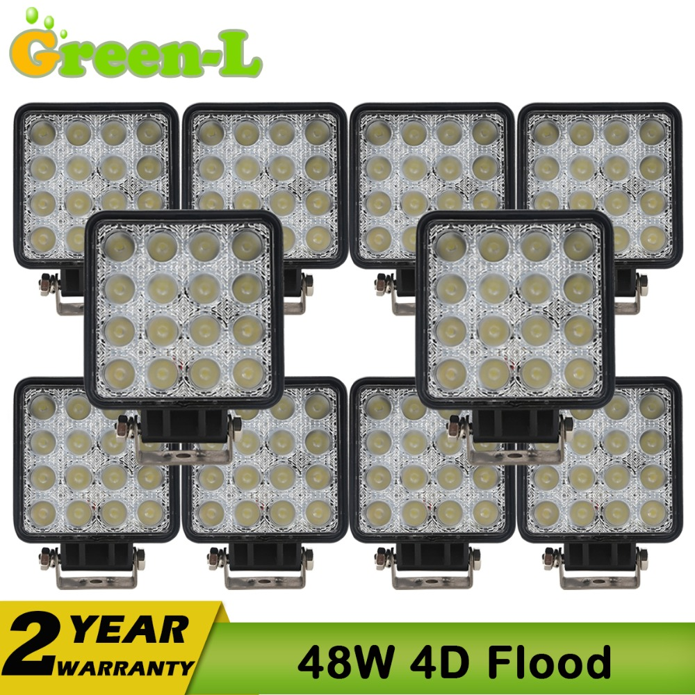 10PCS 4INCH 48W LED WORK WORKING DRIVE DRIVING LIGHT LAMP 12V 24V FOR JEEP OFF ROAD UTE 4WD BOAT SUV ATV TRUCK 4x4 MOTORCYCLE<br><br>Aliexpress