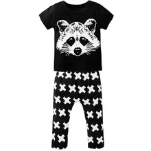 2PCS Newborn Cute Cartoon Fox Printed Baby Boy Girl Clothing Set Infant Soft Cotton T Shirt Pants Short Sleeve Toddler Clothes