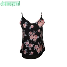 CHAMSGEND Good Deal New Summer  Womens Sleeveless Flower Printed Tank Casual Tops T Shirt  1pc_U00442