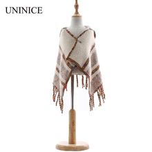 UNINICE Baby Girls Winter Knitting Poncho Sweater Cape Toddler Rabbit Fur Floral Sweater Cloak Coat Fashion Children Party Coats(China)