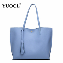 YUOCL Luxury Brand Women Shoulder Bag Soft Leather TopHandle Bags Ladies Tassel Tote Handbag High Quality Women's Handbags