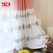 Children Birds Cotton Curtains for Kids Bedroom Drapes Printed Pink Korean Cartoon Curtains Fabric Tulle Window Shades Panels