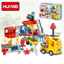 Original HUIMEI 51PCS City Construction Team Worker Truck Crane Educational Brick Set Kids Toys Compatible Duplo Large Blocks