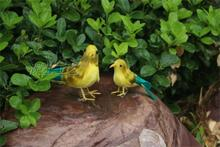 a pair of simulation bird toys plastic & furs yellow&green bird model dolls gift about 14cm,20cm(China)