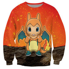 Fashion 3D Hoodie Sexy Charmander Crewneck Sweatshirt Japanese Anime Fire Starter Pokemon Print Jumper Unisex Birdy Sweats Tops