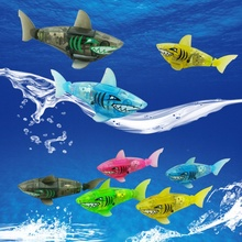 1 PCS Funny Battery Powered Swimming Robot Fish Electronic Shark Bath Toy Lighting Swimming Fish Toy Random Color Shark Bath Toy