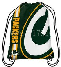 35*45 cm custom design Green Bay Packers logo drawstring backpack with knitted polyester rope(China)