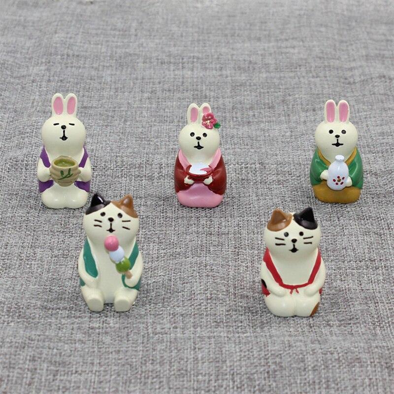 Sushi Model Cartoon Doll Statue Miniature Animal Dessert Cat Figurines