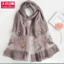 2017 New Vintga Butterfly Embroidery Silk Scarf Women Ethnic Style Oversized Scarf Scarves Female Casual Beach Shawl Echarpes(China)
