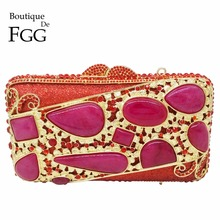 Indian National Style Red Ruby Stones Hollow Out Women Metal Mini Box Crystal Evening Bags Wedding Party Handbags Clutch Purses