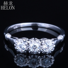 HELON Ring Solid 10k White Gold Three Stone AAA Graded Cubic Zirconia Engagement Wedding Exquisite Ring Women's Fine Jewelry