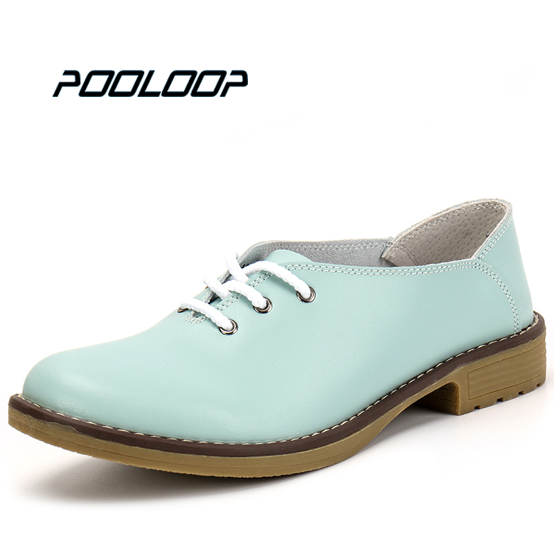 2017 New Handmade Women Flats Genuine Leather Oxfords Shoes Woman Fashion Ballets Flats Casual Moccasins For Women Sapatos Mujer(China)