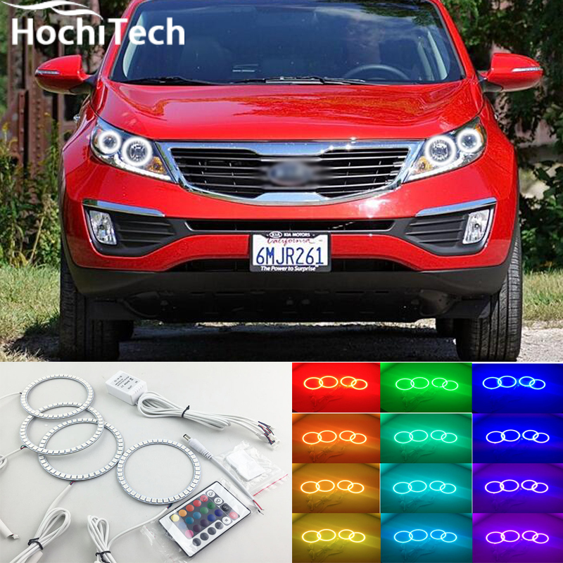 for kia Sportage RGB LED headlight halo angel eyes kit car styling accessories 2011 2012 2013 2014<br>