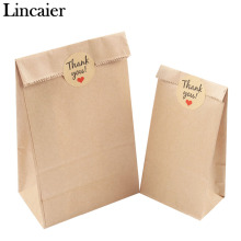 Lincaier 12Pcs Kraft Paper Bag Thank You Stickers Label Cookie Treat Candy Buffet Envelope Wedding Gift Wrapping Sandwich Bags