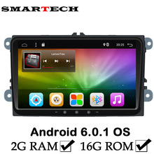 2Din 9 Inch For VW Automotive 2G RAM Android 6.0 Car PC Player For VW Golf Jetta Passat Car Audio Stereo GPS Navigation RDS(China)