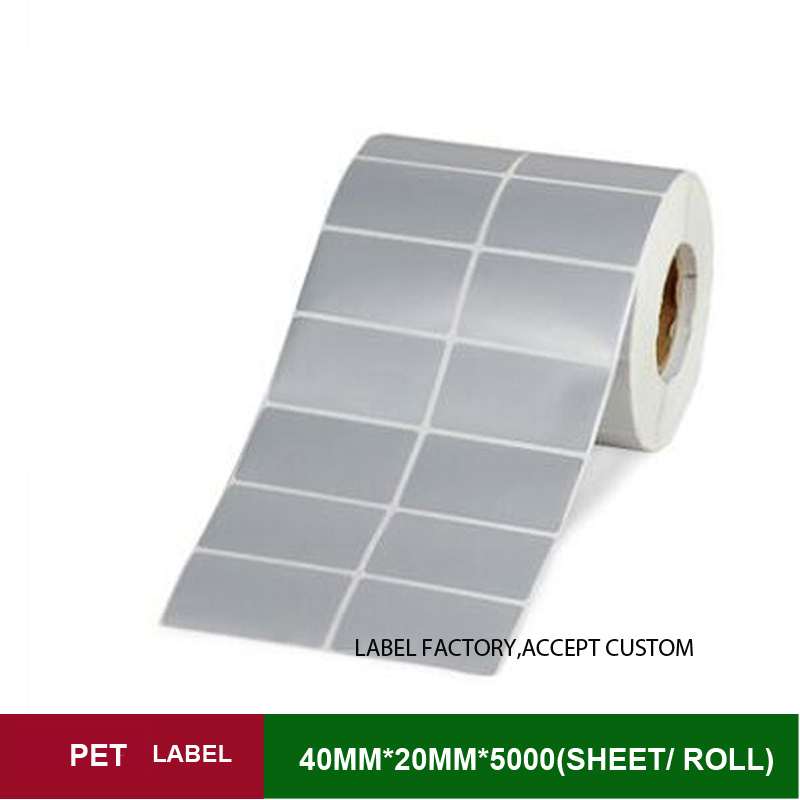 40*20mm*5000 sheets per roll(3 rolls/lot) PET label non-dry adhesive stickers for warranty mark and business logo<br>