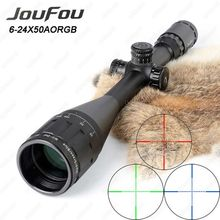 JouFou 6-24X50 Hunting Riflescope RGB Mil Dot Tactical Rifle Scope Wire Reticle Optical Sight with W/Picatinny or Dovetail Rings(China)