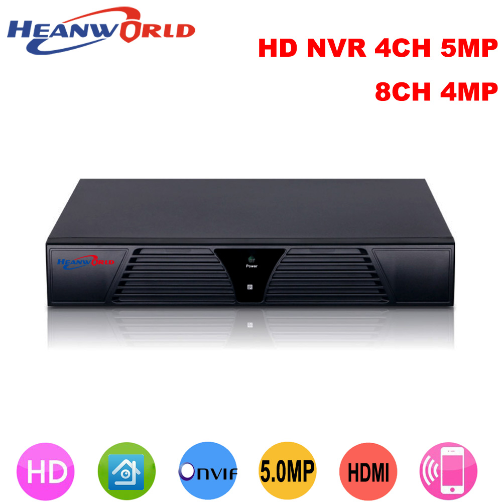 Heanworld NVR 8CH 4MP Onvif H.265 HDMI High Definition 4CH 5MP / 8 channel 4MP Network Video Recorder IP Camera system
