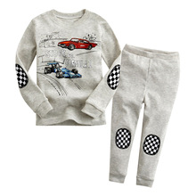 Newborn Baby Clothing Sets Cotton Suits Grey Children's Clothing Girls Baby Boy Suits Car Prints Boy Clothes for Children 2017