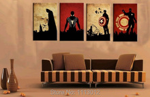 Hand-painted Abstract Marvel Comics Heroes Oil Painting Retro Poster On Canvas (Iron Man, Batman, Captain America, Spiderman)(China)