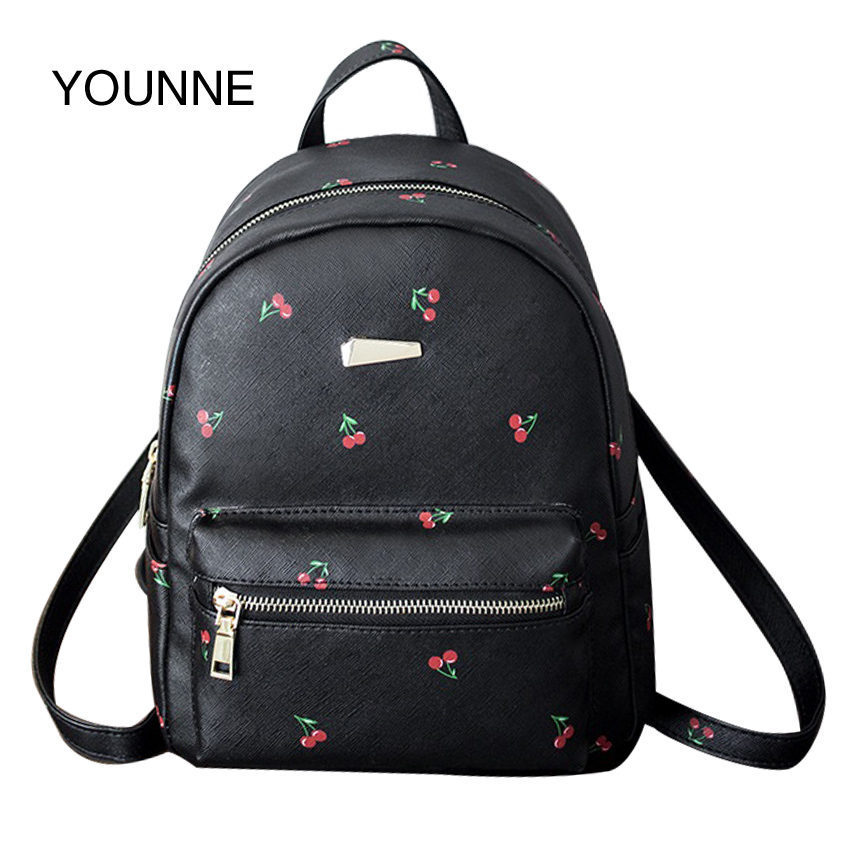 YOUNNE Women PU Leather Backpacks High Quality Solid Backpack Teenager Girls Fashion School Bags with Flower Printing Satchels<br>