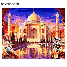GENTLE DEER Animal Tiger Oil Painting By Numbers guarding the palace Pictures DIY Oil Painting By Numbers Wall Decor Gift PMD26